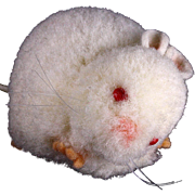 Steiff Albino FAT Wool Miniature Mouse Red Glass Eyes