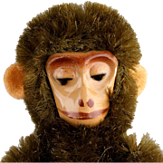 Nine Cm Miniature Mohair Covered Schuco Jointed Monkey with Metal Skeleton and Painted Face Mid 20th Century