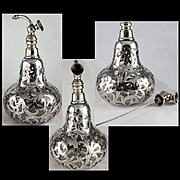 Rare Huge Antique Pear Shaped Alvin Silver Overlay Atomizer Perfume Bottle
