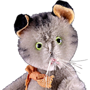 "Rare Old Unusual Jointed Schuco Gray Tabby Striped Mohair ""YES/NO"" Kitten Cat Tail Moves Head"