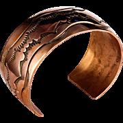 Estate Native American Stamped Copper Cuff Bracelet K&M Bill Navajo