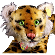 Earliest Model Little Brother Steiff Reclining Leopard Wild Cat All ID Magic Eyes