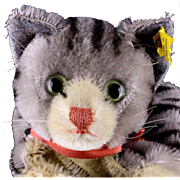 Earlier Model Steiff Tabby Cat Kitten Hand Puppet Glass Eyes 2 IDs