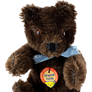 Next to Smallest Brother (Rarely Seen This DARK) Steiff 5X-Jointed Chocolate Brown Original Teddy Bear ID
