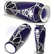 Sterling Silver Overlay on Cobalt Blue Cased Glass Vase Stunning Color