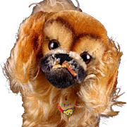 """Big"" Sister Steiff Peky Pekingese Puppy Dog All ID Near Mint Barks!"