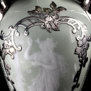 Pâte-sur-Pâte Porcelain Silver Overlay Amphora Vase Art Nouveau Nymph Design