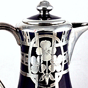 Shapely Cobalt Blue Porcelain Silver Overlay Coffee Pot