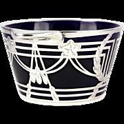 Cobalt Blue Lenox 1906-1930 Mark Porcelain Bowl Vase or Box w Thick Sterling Silver Overlay