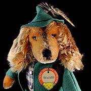Dapper Steiff Waldili Dachshund Hunter Dog Doll Felt Suit and Hat and Rifle All ID