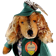 Dapper Steiff Waldili Dachshund Hunter Dog Doll Felt Suit and Hat and Rifle All ID
