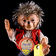 Rare Tiny Steiff Bendable and Poseable Miniature Mecki Hedgehog Doll as a Boy All ID '61-'64 Only