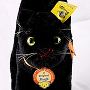 """Gorgeous Small Mohair Brother Steiff BLACK Tom Cat """"Kater"""" All ID"""