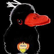 Little Brother Steiff Hucky Raven Bird Lustrous BLACK Mohair ID Too Cute for Halloween.