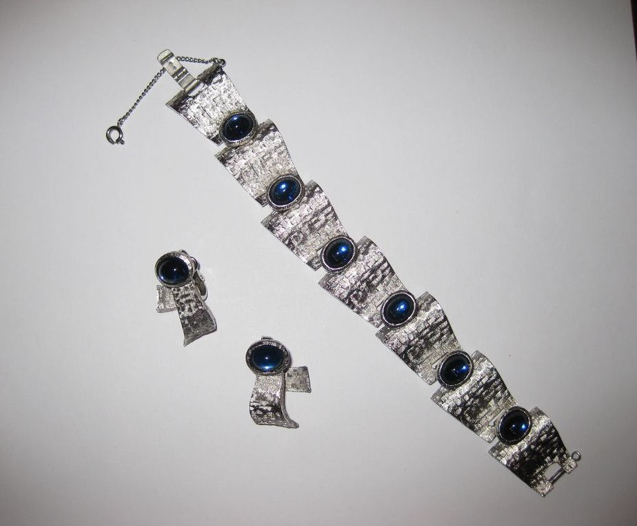 Trifari Silver Tone Bracelet and Earrings with Blue Stones