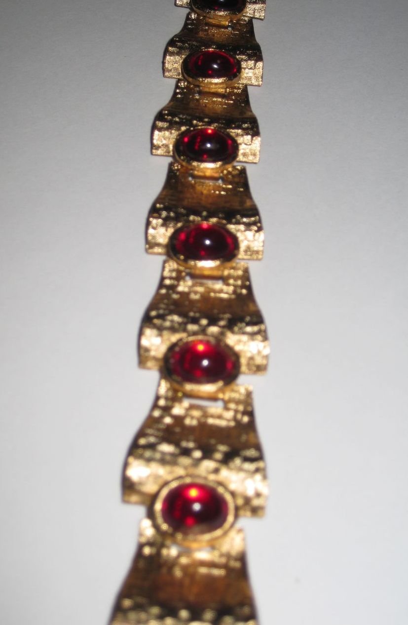 Trifari Gold Tone Bracelet with Red Cabochons