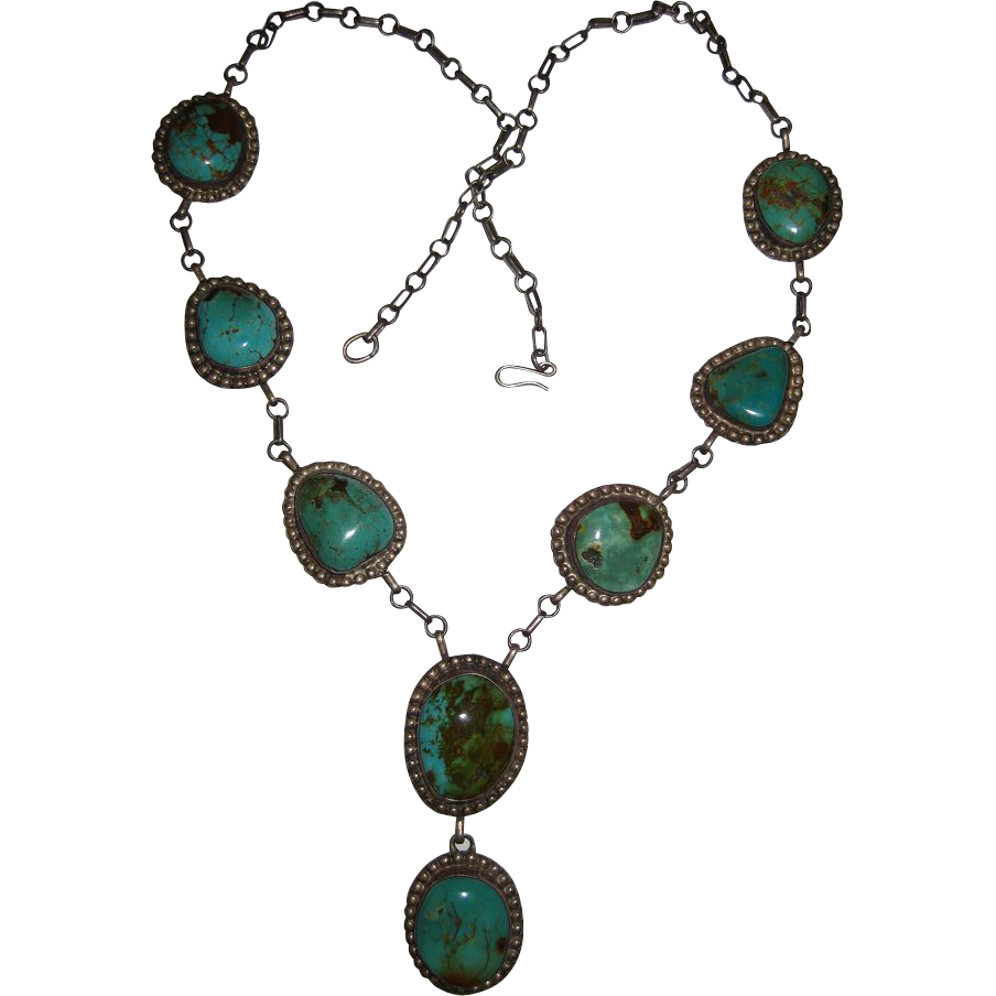 Native American Cerillo Mine Turquoise Pendant Necklace