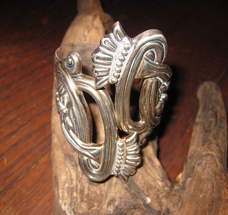 SALE: WAS $395. Sterling Moon Flower Clamper Bracelet, Taxco, Mexico