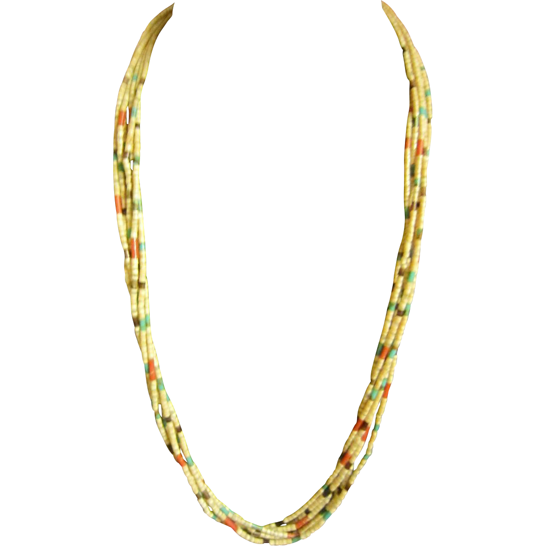 Turquoise, Coral  Heishe Necklace - Sterling Fittings