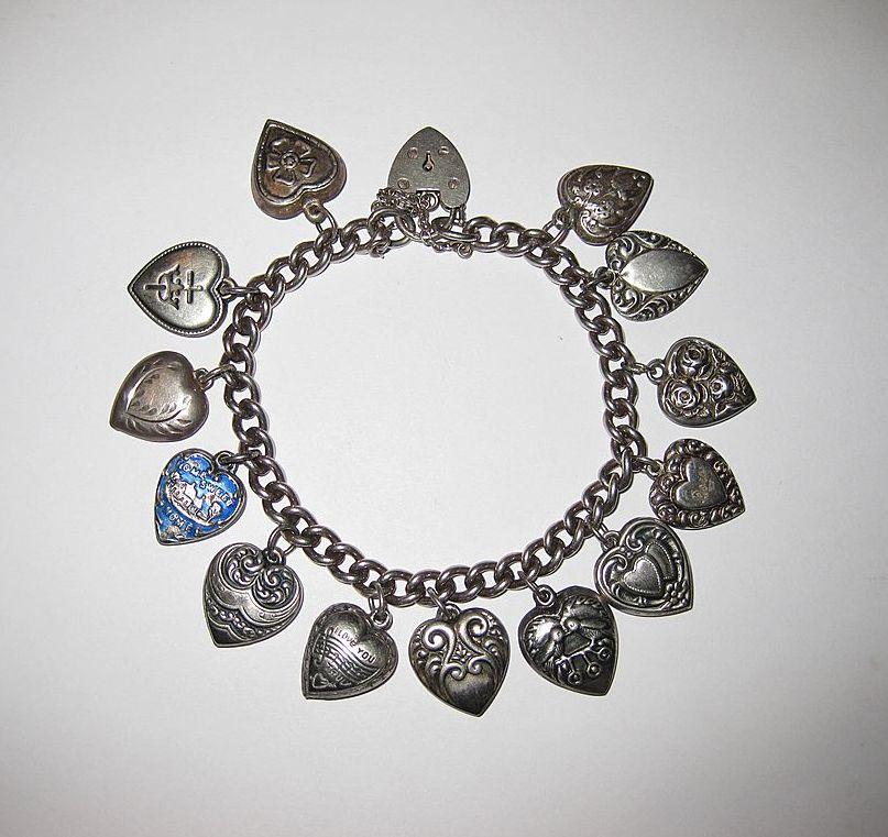 SALE Heart Lock Charm Bracelet - 14 Puffy Hearts