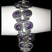 Margot de Taxco Wide Sterling Amethyst Link Bracelet