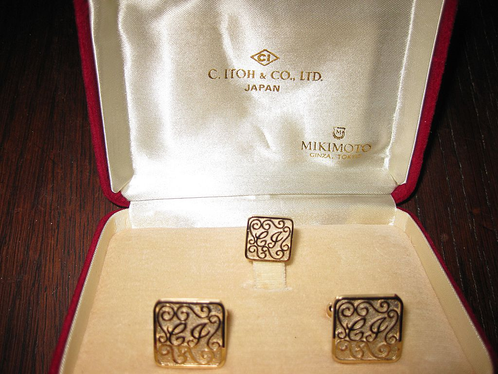 Mikimoto Gold Plated Sterling Cuff Links Initials CI or CJ
