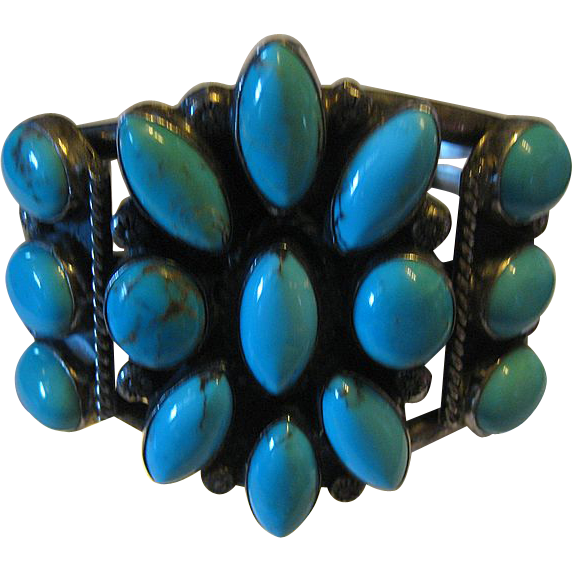 Native American Royston Turquoise Cluster Sterling Cuff Bracelet