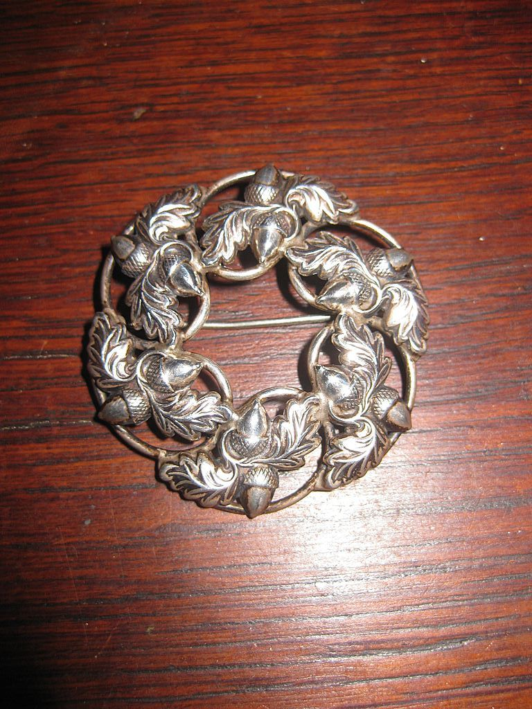 Danecraft Felch Sterling Acorn Brooch