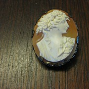 50% SALE Victorian Shell Cameo of  Flora in a Sterling Brooch