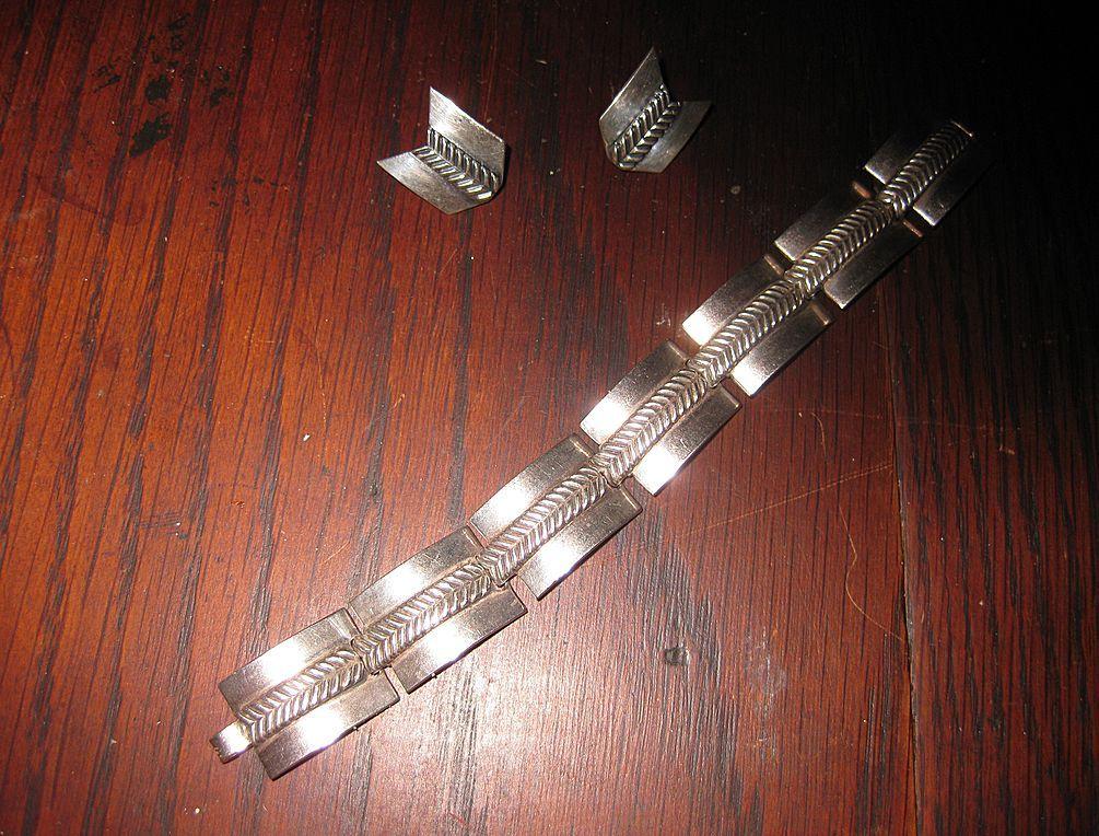 Carl Ruopoli Sterling Mid Century Sterling Bracelet and Earrings