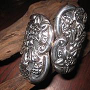 SALE: WAS $299. Fabulous Sterling Moon Flower Clamper Bracelet - Taxco