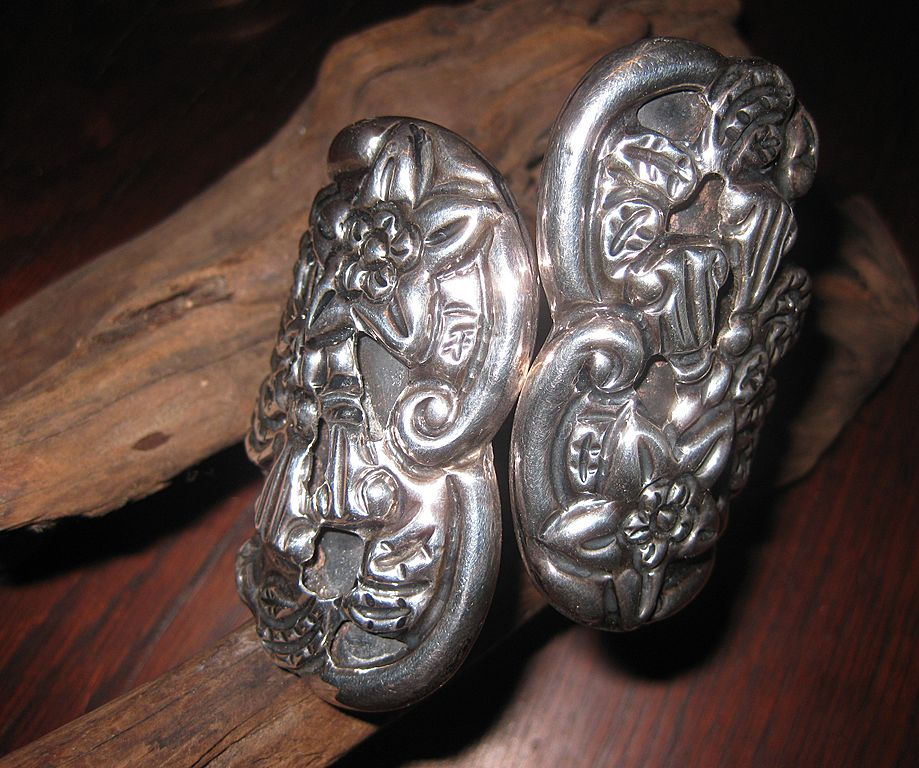 SALE: WAS $299. Fabulous Sterling Moon Flower Clamper Bracelet - Taxco