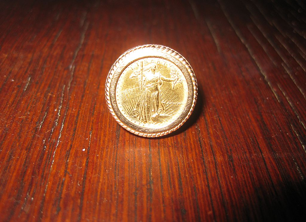 14K Gold Ring with $5 Standing Liberty Coin  22k