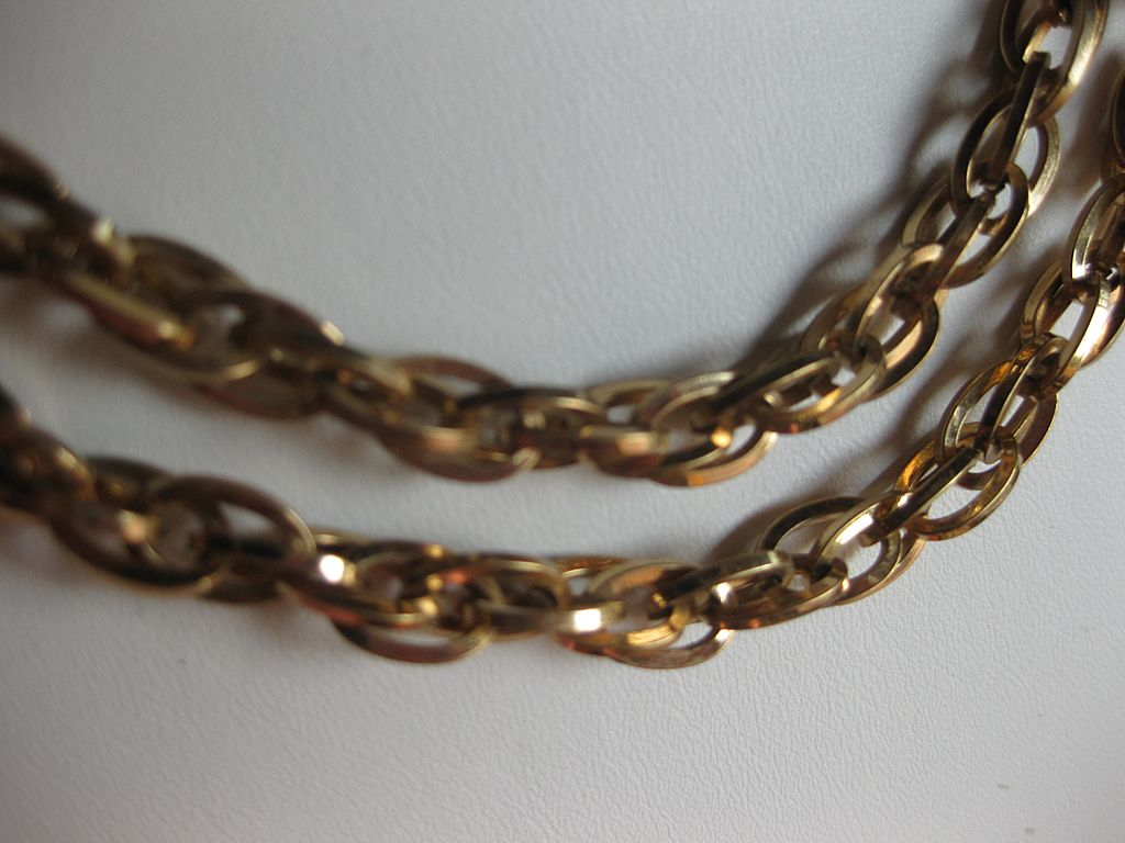 Vendome Intricate Gold Tone Link Necklace