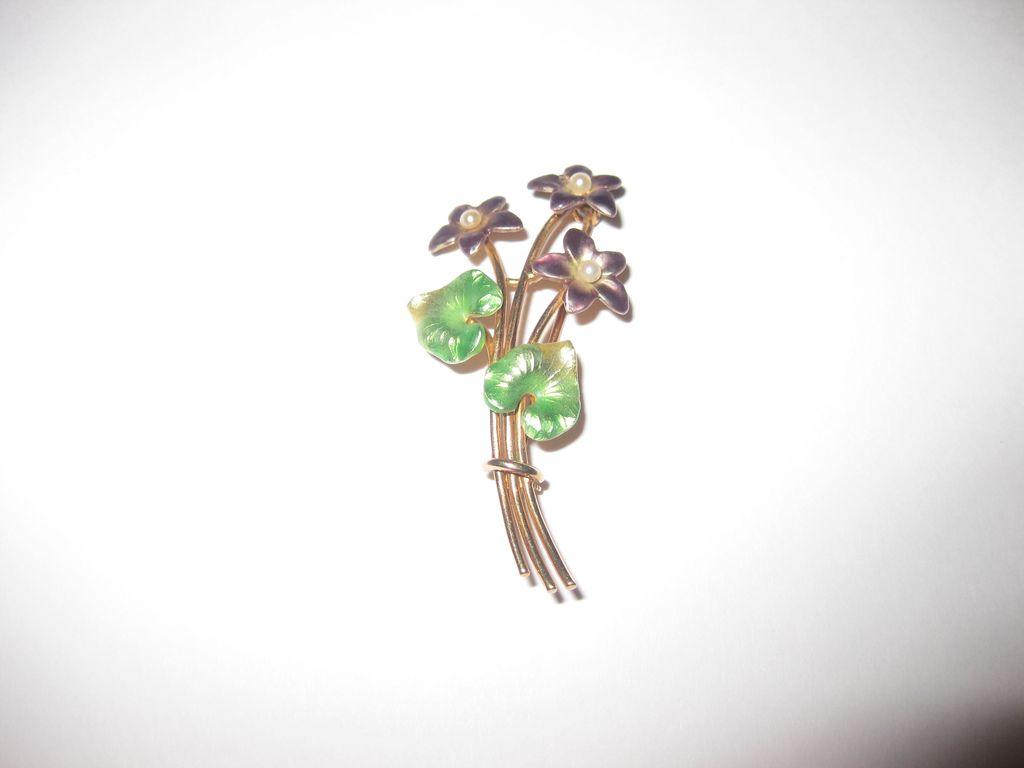 ON HOLD: Krementz 14K Gold  and Enamel Brooch - Violets