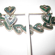 Book Piece - Los Castillo Sterling Heart Necklace and Earrings