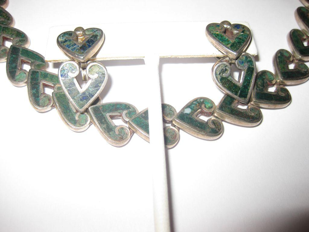 TAKE $150 OFF: Book Piece - Los Castillo Sterling Heart Necklace and Earrings