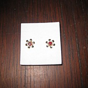 Genuine Garnets Set in 9K Gold Flower Earrings Post