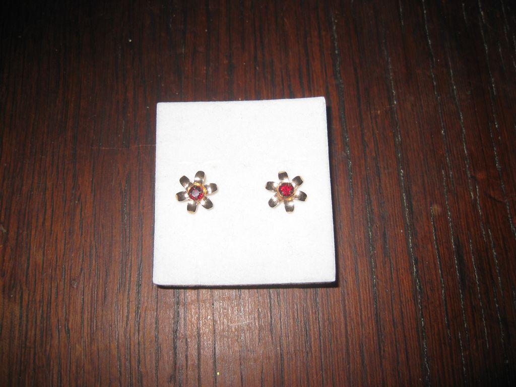 Genuine Garnets Set in 9K Gold Flower Earrings Post