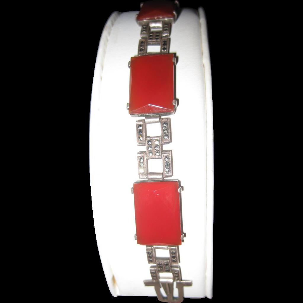 Art Deco Carnelian Sterling Marcasite Link Bracelet