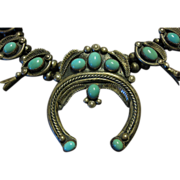 Exceptional Squash Blossom Turquoise Necklace  by Rose Haley Long