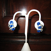 Eisenberg Blue and Clear Rhinestone Earrings - Clip