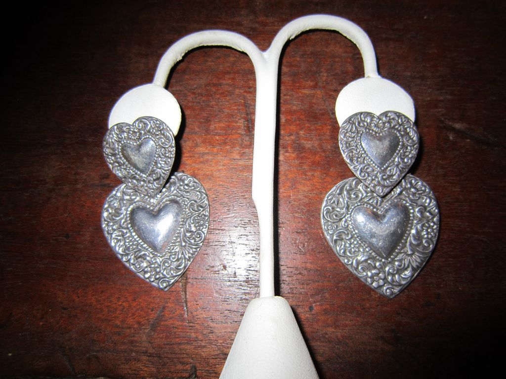 Sterling Repousse Double Heart Earrings - Southwestern Style