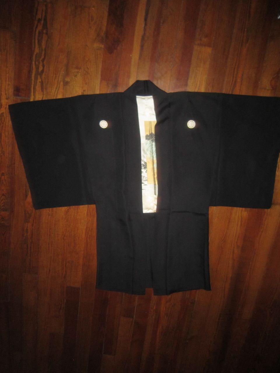 50% OFF SALE: Rich  Black Silk Haori  with Silk Screen Lining