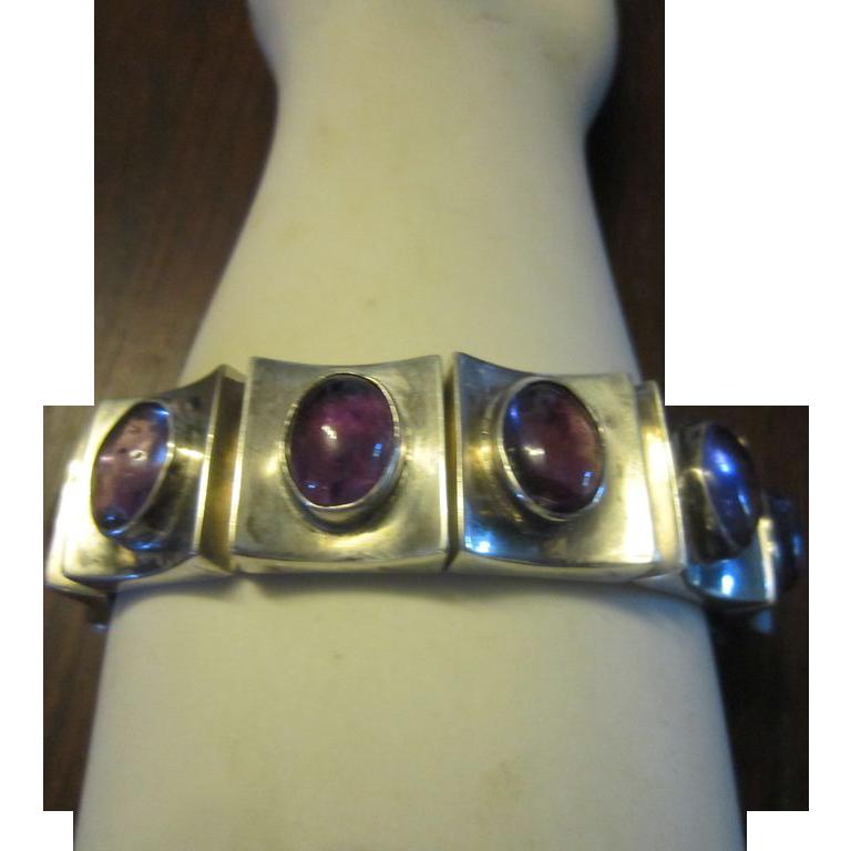 Modernist Sterling and Amethyst Link Bracelet