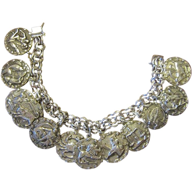 SALE $550 NOW: Sterling Zodiac 12  Charms Bracelet