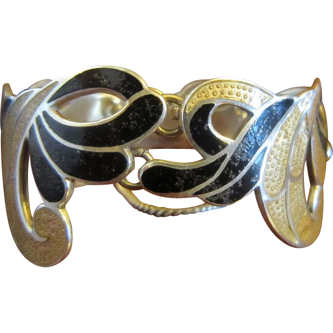 Margot de Taxco Golden and Black Enamel Sterling Bracelet
