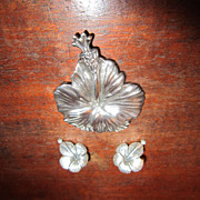 Ming's Sterling Hibiscus Brooch and Earrings
