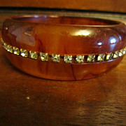 Tortoise Bakelite Bangle with Channel Set Rhinestones