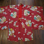 Red Silk Haori  (Jacket) with Multicolored Flowers